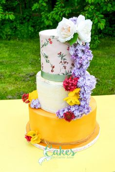 Weddings - Cakes By Carrie-Anne Floral English Wedding Cake. Gold