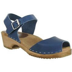Mia Anja Leather Clogs ($67) ❤ liked on Polyvore featuring shoes, clogs, denim blue, blue clogs, genuine leather shoes, rubber sole shoes, mia clogs and clog shoes