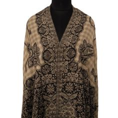 "Ibaexports Black Wool Blend Shawl Jamawar Jacquard Floral Paisley Weaving Scarf Stole India 80"" X 40"" Inches IBA. $57.99"