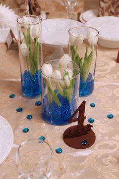 Синяя свадьба. Украшение столов гостей.