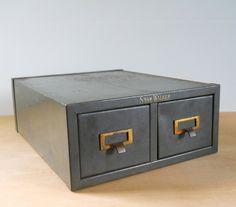 Vintage Shaw Walker File Box  Metal 2 Drawer by lisabretrostyle2 #vintageoffice