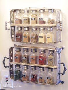 Old Silver Trays Into Spice Storage - 16 Super Smart DIY Kitchen Storage Ideas | GleamItUp