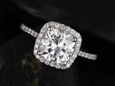 Catalina 7.5mm 14kt White Gold Cushion FB Moissanite and Diamond Halo Engagement Ring (Other metals and stone options available) by RosadosBox on Etsy https://www.etsy.com/listing/171652899/catalina-75mm-14kt-white-gold-cushion-fb