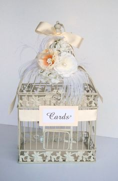 Vintage Glam - Wedding Bird Cage Card Holder - Ivory and White with Feathers and Crystals