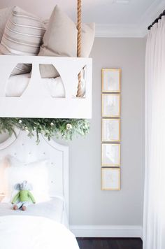 Bunk room with light grey walls - Gorgeous Christmas decorations at elegant Home for Holidays showhouse in Atlanta - Hello Lovely Studio