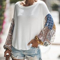 Women Shirts Autumn Casual Elegant O-neck Blouse Women Top Camisa Feminina Lantern Sleeve White Ladies Blouses Shirts Vetement Hippie Chic, Mode Outfits, Fashion Outfits, Emo Fashion, Womens Fashion, Cheap Fashion, Fashion Wear, Gothic Fashion, Fashion Fashion