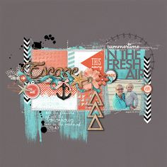 love the beach feel and geometric shapes in this scrapbook page by Kayleigh at DesignerDigitals.com