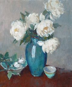 Blossoms in a Blue Vase – COCO VIVO Richard Oversmith Oil - please call our Charleston location for pricing Blossoms, Flower Art, Still Life, Peonies, Original Artwork, Vase, Canvas Paintings, Fine Art, Wall Art