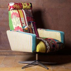 Hippie Office Furniture.  Made with vintage office furniture and vintage fabric.