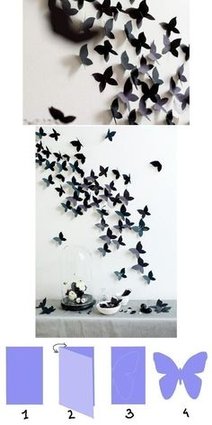 We could use paint chips to make these and put them in your room. ♥♥♥ Previous pinner posted: DIY: Butterfly Interior Decor