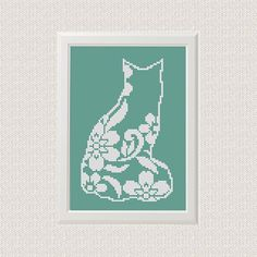 Flower cat Cross Stitch printable pdf pattern Cat Pattern