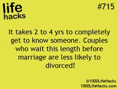 Relationship hack. Seems to work. Hubby and I dated 3.5 years. Happily married almost 27 years now.