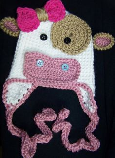 crochet cow hat rose pink. white and light brown. $20.00, via Etsy.