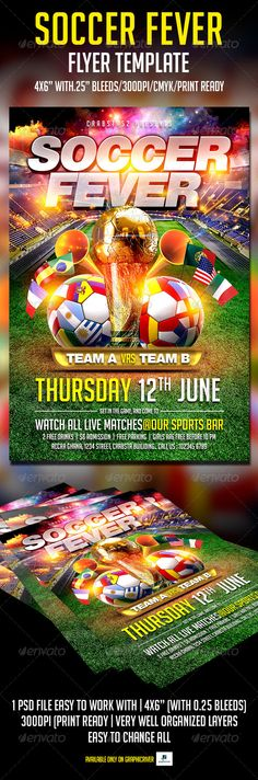 FLYER SOCCER CUP MATCH OF THE DAY IN BRAZIL BAR    www - soccer flyer template