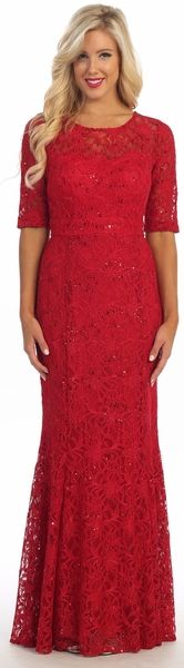 Full Length Mermaid Silhouette Evening Lace Dress has Jewel Neckline, Half Length Sleeves and Zipper Closure on the Back, Sequins Embellishment Throughout. Cocktail Dresses Online, Evening Dresses, Formal Dresses, Long Dresses, Professional Dresses, Lace Dress, Dress Red, Party Dress, Short Sleeve Dresses