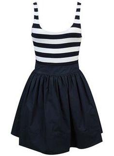 Nautical nautical nautical dress... would be so cute with a white jean jacket!