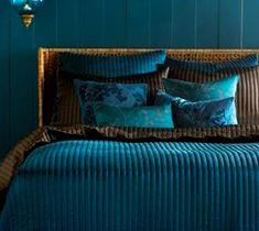 Teal & Brown: Duvet, Sheets; Teal Wall; Dark Brown Curtains; Dark Brown Bedroom Set