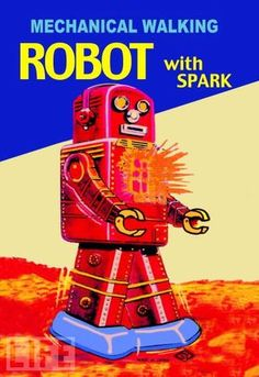 Illustrations from 1950s Japanese robot toy packaging