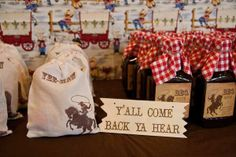 """another cowboy party favor table wording along with """"Happy Trails"""""""