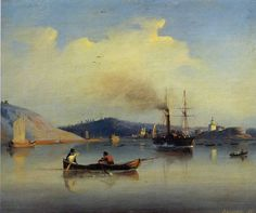 Lev Lagorio - Staraya Ladoga, Nicholas klooster en het kasteel van St. George (1843)