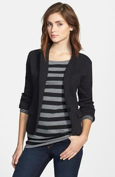 Caslon® Quilted Cotton Blend Knit Blazer (Regular & Petite) in Black | Nordstrom