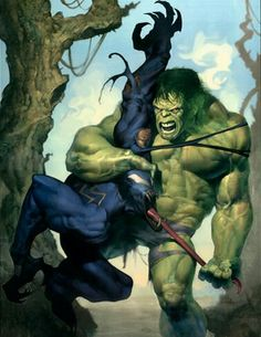 """""""Hulk pull you inside out!"""" In the Hulkiverse, Hulk actually defeated Venom like this by pulling him inside out by his tongue and Hulk throwing the symbiote into the sun Arte Dc Comics, Marvel Comics Art, Bd Comics, Hulk Marvel, Marvel Heroes, Avengers, Comic Book Characters, Comic Book Heroes, Marvel Characters"""