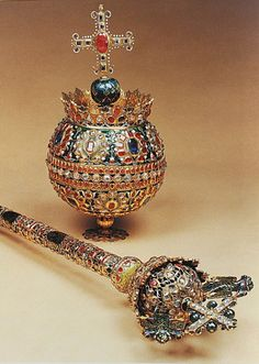 The orb and scepter of Tsar Alexey I Romanov, Tsar of all Russia and father of Peter I The Great, Tsarevna Sophia, Tsar Ivan and Tsar Feodor. All of his children have to struggle for crown and were monarchs of Russia. All his children died between the age Royal Crowns, Tiaras And Crowns, Royal Jewelry, Vintage Jewelry, Globus Cruciger, Zar Nikolaus Ii, Tsar Nicholas Ii, Imperial Russia, Family Jewels