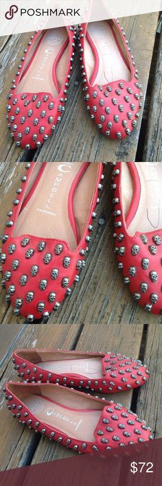 Jeffrey Campbell Leather Metal Skull Ballet Flats Jeffrey Campbell Slip On Red Leather Metal Skull Ballet Flats Sz 6.5 Womens Shoes Handmade Ibiza last.   Round toe. Light wear. See pictures for details of condition. Smoke free home. Jeffrey Campbell Shoes Flats & Loafers