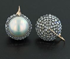 Mabe Pearl, Moonstone, Silver and 18K Rose Gold Ear Pendants by James de Givenchy #Taffin #JamesdeGivenchy #Earrings