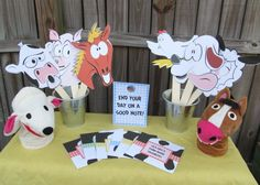 Old MacDonald's Farm Band Playdate favors: farm animal masks for photobooth / puppet theater / Reader's Theater for older kids + CDs of farm-related kid songs