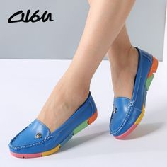 225760a0b O16U Women ballerina flats casual shoes genuine Leather slip on ballet  Ladies soft moccasins white green