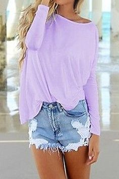 oversized purple top| $15.14  kawaii fairy kei pastel hipster grunge fachin top under20 under30 free shipping rosegal