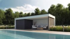 Poolhouse met lounge hoek, outdoor design meubilair, moderne poolhouse
