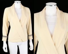 VTG 1980s GIANNI VERSACE COUTURE IVORY SILK WRAP TOP BLOUSE SZ 38 #GianniVersace