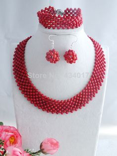 Free Shipping Wedding African Beads Jewelry Set Coral Beads Necklace Bracelet Earrings Set New 2014 L-075 $62.15