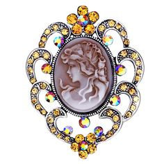 Brooches & Pins - antique vintage cameo brooches brown maid oval border topaz crystal flower pin brooch Image.