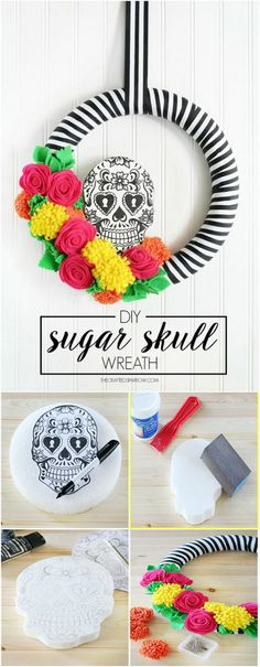 DIY Sugar Skull Wreath. DIY Sugar skulls decorated with brightly colored fabric flowers. Super fun and cheerful Halloween decor with pop of colors.