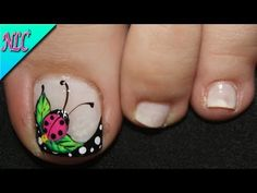 Toe Designs, Paws And Claws, Minimalist Nails, Love Nails, Pedicure, Ladybug, Gel Nails, Beauty Hacks, Lily