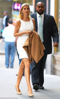Leggy lady! Ivanka Trump paraded her pins in a white shift dress during an outing in New Y...
