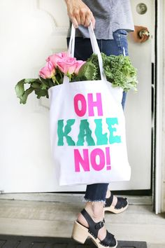 "Love this! ""Oh Kale No!"" shopping bag DIY"