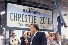 Christie uses his campaign bus to make a grand entrance at his latest New Hampshire town hall.