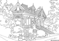 Houses Printable Adult Coloring Pages from Favoreads House Colouring Pages, Coloring Book Pages, Coloring Sheets, Disney Princess Coloring Pages, Coloring Pages Inspirational, Printable Adult Coloring Pages, Christmas Coloring Pages, Victorian Homes, Architecture