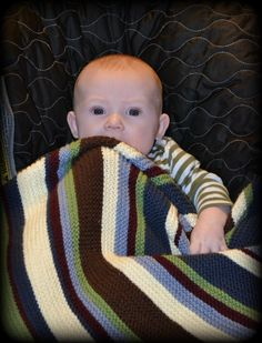 A baby knitted blanket, for my grandson. I did create this one too