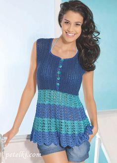 Three-color summer tunic with a pattern of shells. Diy Crochet Top, Crochet Cardigan, Knit Crochet, Crochet Stitches, Crochet Patterns, Summer Tunics, Crochet Woman, Sweater Coats, Crochet Clothes