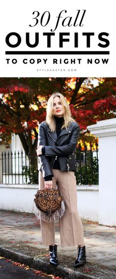30 Amazing Fall 2015 Outfit Ideas to Copy Now | Blogger Lucy Williams of @FashionMeNow wearing a chic leather jacket, fringed leopard print bag, and camel-colored culottes. | @StyleCaster