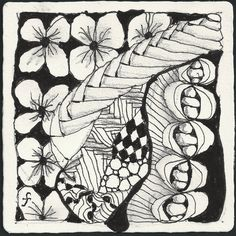 Pattern Play with Pens: Weekly Challenge No. 13 - Drawing with the non-dominant hand    - #DRAW #ZENTANGLE #ZENDALA #TANGLE #DOODLE #BLACKWHITE #BLACKANDWHITE #SCHWARZWEISS