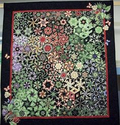 Beautiful one block wonder quilt.  Each block is a hexagon made of 6 identical triangles. Web site explains how.