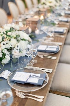 This gorgeous rainy day wedding in Napa Valley is proof that wedding professionals are fairy godmothers! This stunning wedding with a gorgeous color palette of dusty blues, grays and whites is all about the romance and happy tears! Romantic Wedding Receptions, Wedding Menu, Romantic Weddings, Wedding Ceremony, Wedding Day, Wedding Photos, Yacht Wedding, Wedding Styles, Blue Table Settings