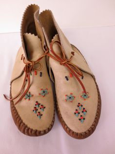 Vintage Taos Beaded Indian Moccasins by gemiem on Etsy, $38.00