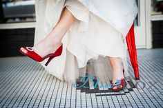 It's all about the bride's shoes! Be sure to take a photo of your shoes, because all brides know that the shoes make the dress and the dress makes the shoes!